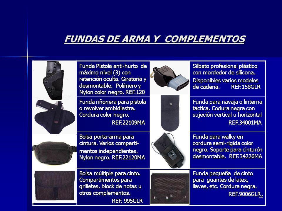 22 FUNDAS DE ARMA Y COMPLEMENTOS Funda Pistola anti-hurto de máximo nivel (3) con retención oculta. Giratoria y desmontable. Polímero y Nylon color ne