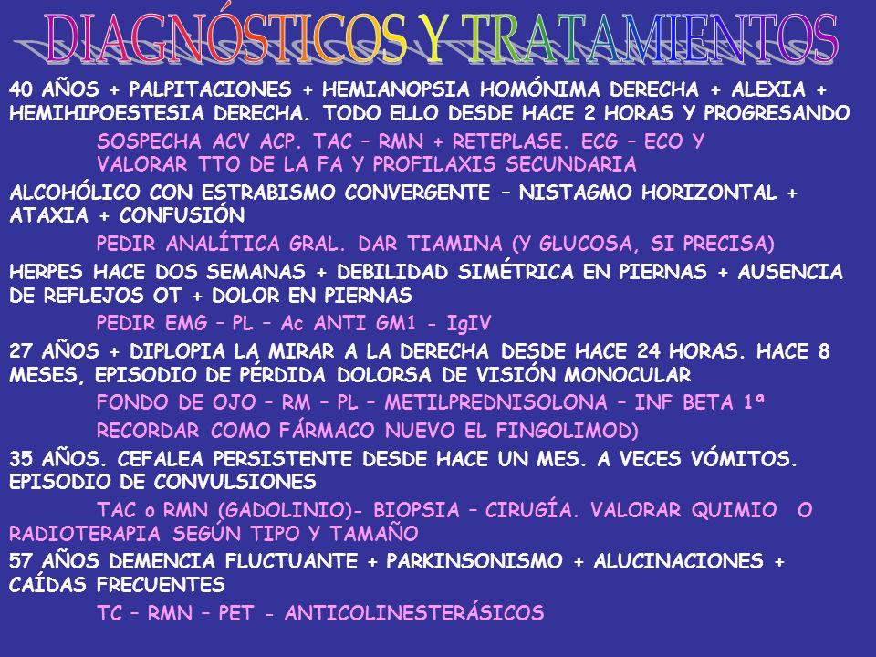 OBESIDAD + DESCENSO HDL + HTA + DIABETES SÍNDROME METABÓLICO DOLOR CUELLO Y OÍDOS + FIEBRE + PALPITACIONES + TEMBLOR TIROIDITIS SUBAGUDA GRANULOMATOSA DISNEA + AUMENTO AST/ALT + DESCENSO I.TIFFENEAU DÉFICIT DE ALFA 1 ANTITRIPSINA PALIDEZ + TETANIA + TROMBOCITOSIS + DIARREA + PÉRD.PESO CELIAQUÍA 30 AÑOS CON ESTERILIDAD Y DISMENORREA SEVERA ENDOMETRIOSIS OSTEOPENIA + POLIURIA + LITIASIS + HTA HIPERPARATIROIDISMO DISNEA DE ESFUERZO + SÍNCOPES + SOPLO SISTÓLICO + PULSO DÉBIL ESTENOSIS AÓRTICA (O MIOCARDIOPATÍA DILATADA) TRAS OTITIS, PÉRDIDA SENSIBILIDAD FACIAL Y DIPLOPIA PETROSITIS (S.