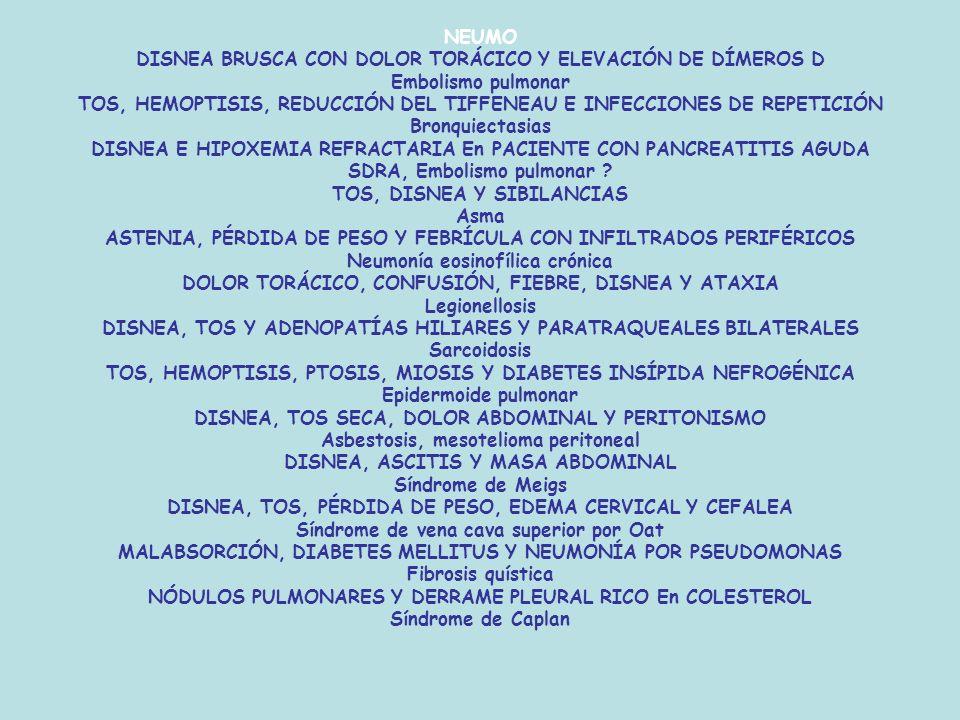 NEUMO DISNEA BRUSCA CON DOLOR TORÁCICO Y ELEVACIÓN DE DÍMEROS D Embolismo pulmonar TOS, HEMOPTISIS, REDUCCIÓN DEL TIFFENEAU E INFECCIONES DE REPETICIÓN Bronquiectasias DISNEA E HIPOXEMIA REFRACTARIA En PACIENTE CON PANCREATITIS AGUDA SDRA, Embolismo pulmonar .