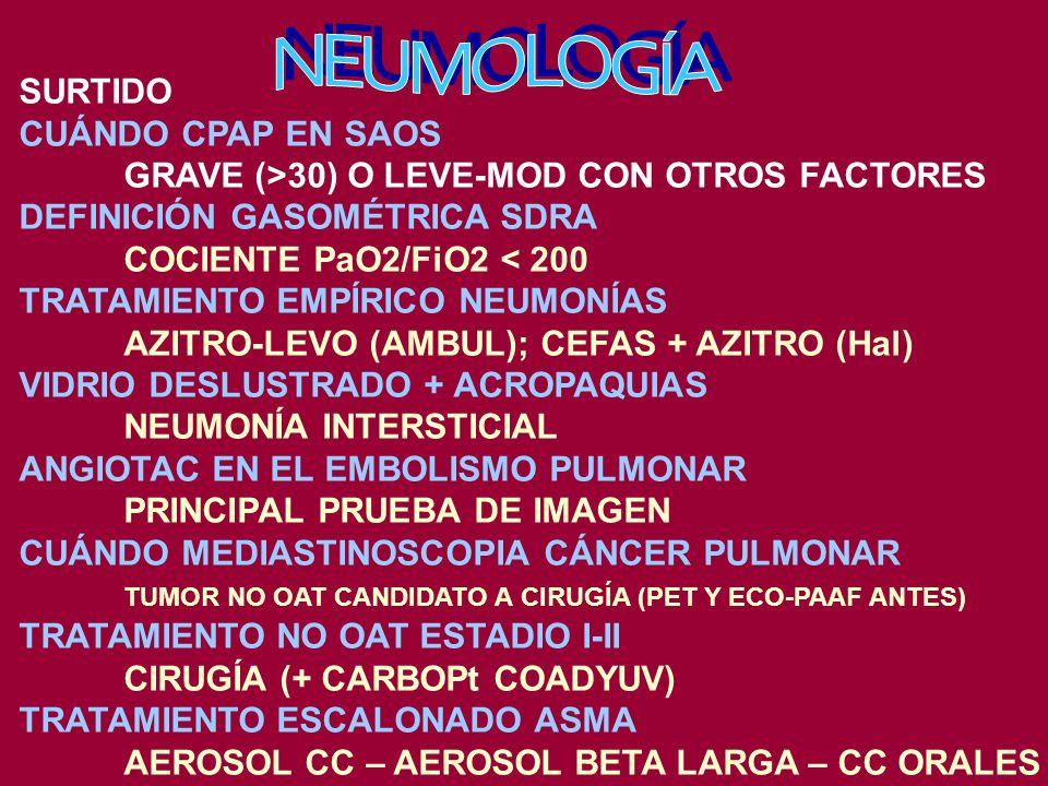 SURTIDO CUÁNDO CPAP EN SAOS GRAVE (>30) O LEVE-MOD CON OTROS FACTORES DEFINICIÓN GASOMÉTRICA SDRA COCIENTE PaO2/FiO2 < 200 TRATAMIENTO EMPÍRICO NEUMONÍAS AZITRO-LEVO (AMBUL); CEFAS + AZITRO (Hal) VIDRIO DESLUSTRADO + ACROPAQUIAS NEUMONÍA INTERSTICIAL ANGIOTAC EN EL EMBOLISMO PULMONAR PRINCIPAL PRUEBA DE IMAGEN CUÁNDO MEDIASTINOSCOPIA CÁNCER PULMONAR TUMOR NO OAT CANDIDATO A CIRUGÍA (PET Y ECO-PAAF ANTES) TRATAMIENTO NO OAT ESTADIO I-II CIRUGÍA (+ CARBOPt COADYUV) TRATAMIENTO ESCALONADO ASMA AEROSOL CC – AEROSOL BETA LARGA – CC ORALES