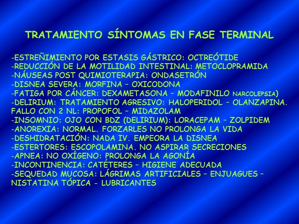 TRATAMIENTO SÍNTOMAS EN FASE TERMINAL -ESTREÑIMIENTO POR ESTASIS GÁSTRICO: OCTREÓTIDE -REDUCCIÓN DE LA MOTILIDAD INTESTINAL: METOCLOPRAMIDA -NÁUSEAS P