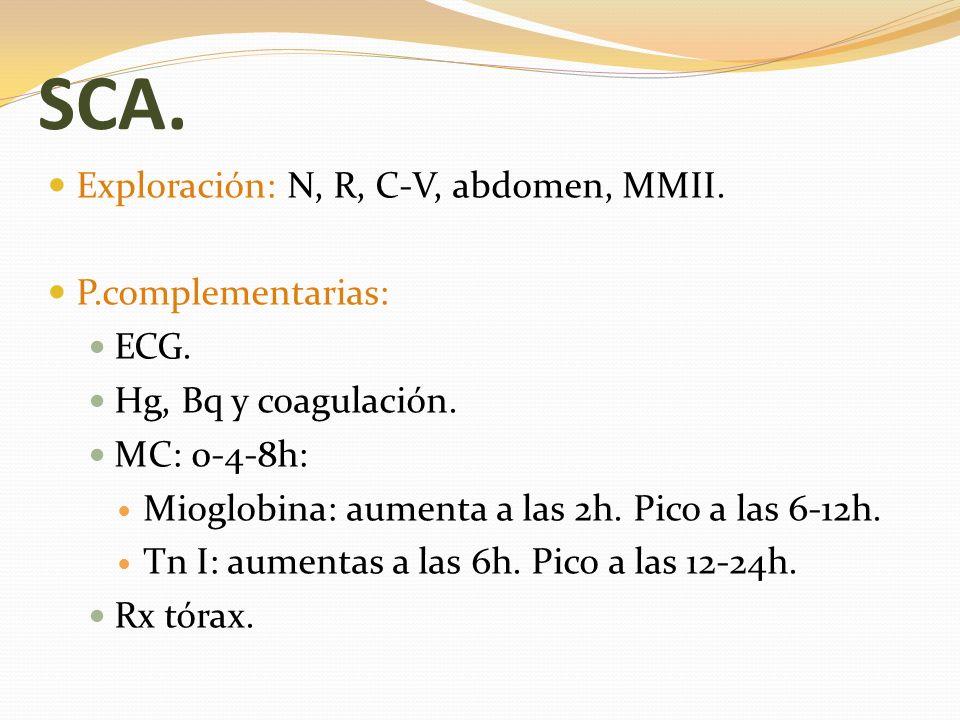 SCA. Exploración: N, R, C-V, abdomen, MMII. P.complementarias: ECG. Hg, Bq y coagulación. MC: 0-4-8h: Mioglobina: aumenta a las 2h. Pico a las 6-12h.