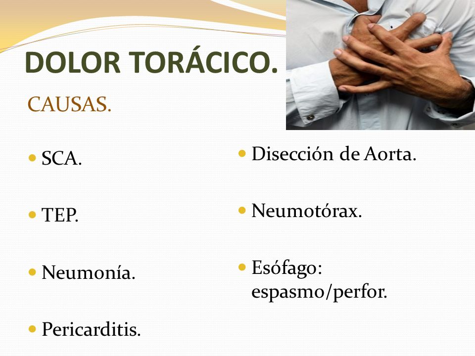 DOLOR TORÁCICO. TIPOS. Coronario. Disección de Aorta. Pericárdico. Pleural. Esofágico.