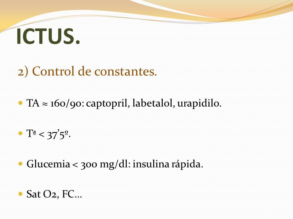 ICTUS. 2) Control de constantes. TA 160/90: captopril, labetalol, urapidilo. Tª < 375º. Glucemia < 300 mg/dl: insulina rápida. Sat O2, FC…