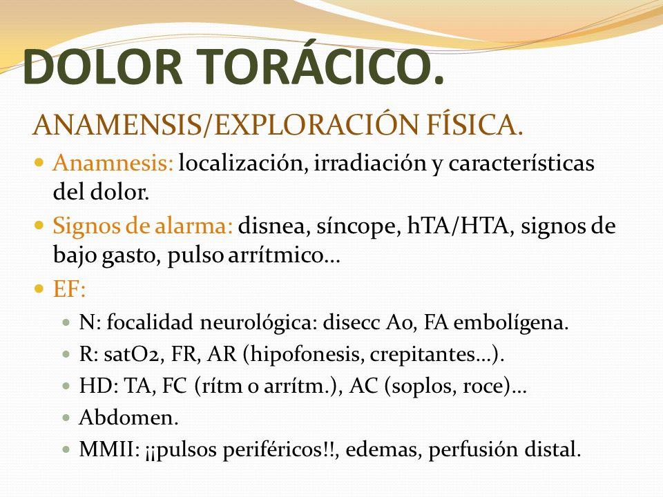 DOLOR TORÁCICO. ANAMENSIS/EXPLORACIÓN FÍSICA. Anamnesis: localización, irradiación y características del dolor. Signos de alarma: disnea, síncope, hTA