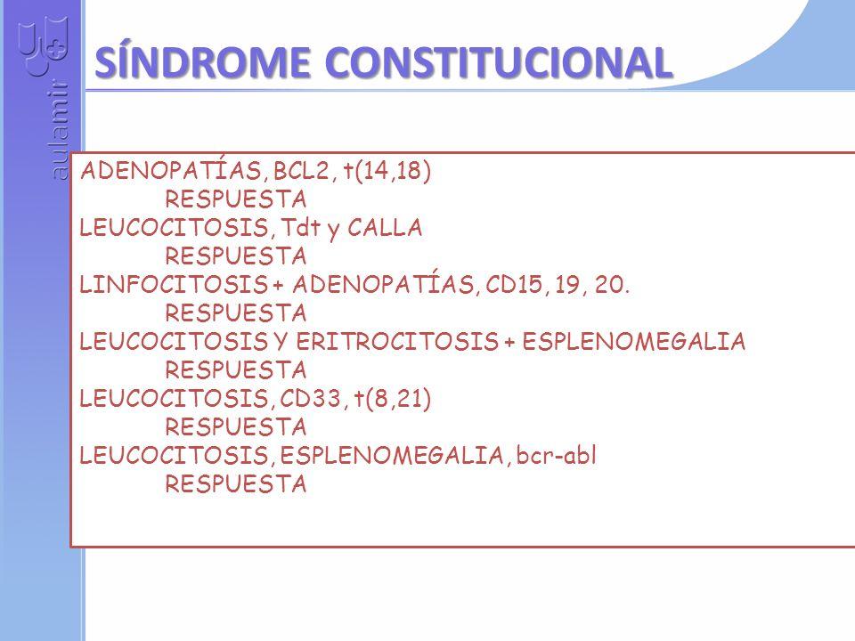 ADENOPATÍAS, BCL2, t(14,18) RESPUESTA LEUCOCITOSIS, Tdt y CALLA RESPUESTA LINFOCITOSIS + ADENOPATÍAS, CD15, 19, 20.