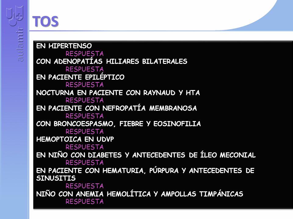 CALAMBRES AL FLEXIONAR EL CUELLO RESPUESTA CON PARAPARESIA Y FIEBRE TRAS INFECCIÓN CUTÁNEA RESPUESTA EN PACIENTE CON PSA DE 25 RESPUESTA PAROXÍSTICO EN NIÑO CON ANEMIA Y RETICULOCITOS ALTOS RESPUESTA PACIENTE HIPERTENSO CON SOPLO DIASTÓLICO Y PULSOS ASIMÉTRICOS RESPUESTA NOCTURNO EN SUJETO JOVEN RESPUESTA IRRADIADO A GENITALES EN PACIENTE CON HIPERPARATIROIDISMO RESPUESTA EN MUJER DE 62 AÑOS, DOLOR INTENSO QUE VA DECRECIENDO PROGESIVAM RESPUESTA CON ANEMIA, HIPERCALCEMIA Y AUMENTO DE CREATININA RESPUESTA CON SUEÑO NO REPARADOR Y DOLORES DISEMINADOS RESPUESTA CALAMBRES AL FLEXIONAR EL CUELLO RESPUESTA CON PARAPARESIA Y FIEBRE TRAS INFECCIÓN CUTÁNEA RESPUESTA EN PACIENTE CON PSA DE 25 RESPUESTA PAROXÍSTICO EN NIÑO CON ANEMIA Y RETICULOCITOS ALTOS RESPUESTA PACIENTE HIPERTENSO CON SOPLO DIASTÓLICO Y PULSOS ASIMÉTRICOS RESPUESTA NOCTURNO EN SUJETO JOVEN RESPUESTA IRRADIADO A GENITALES EN PACIENTE CON HIPERPARATIROIDISMO RESPUESTA EN MUJER DE 62 AÑOS, DOLOR INTENSO QUE VA DECRECIENDO PROGESIVAM RESPUESTA CON ANEMIA, HIPERCALCEMIA Y AUMENTO DE CREATININA RESPUESTA CON SUEÑO NO REPARADOR Y DOLORES DISEMINADOS RESPUESTA DOLOR DE ESPALDA…