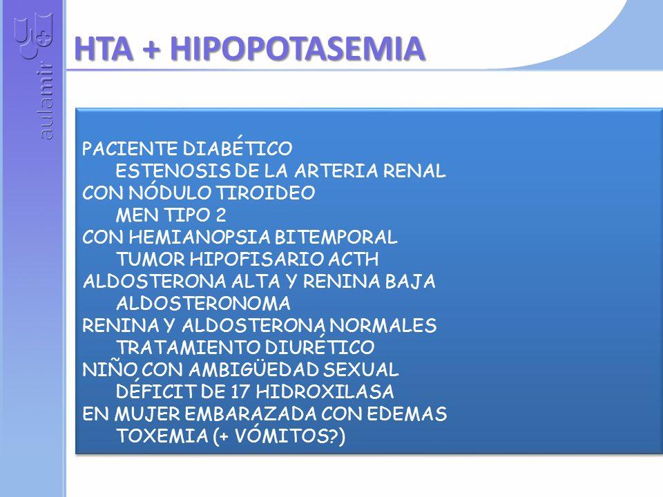 PACIENTE DIABÉTICO ESTENOSIS DE LA ARTERIA RENAL CON NÓDULO TIROIDEO MEN TIPO 2 CON HEMIANOPSIA BITEMPORAL TUMOR HIPOFISARIO ACTH ALDOSTERONA ALTA Y RENINA BAJA ALDOSTERONOMA RENINA Y ALDOSTERONA NORMALES TRATAMIENTO DIURÉTICO NIÑO CON AMBIGÜEDAD SEXUAL DÉFICIT DE 17 HIDROXILASA EN MUJER EMBARAZADA CON EDEMAS TOXEMIA (+ VÓMITOS?) PACIENTE DIABÉTICO ESTENOSIS DE LA ARTERIA RENAL CON NÓDULO TIROIDEO MEN TIPO 2 CON HEMIANOPSIA BITEMPORAL TUMOR HIPOFISARIO ACTH ALDOSTERONA ALTA Y RENINA BAJA ALDOSTERONOMA RENINA Y ALDOSTERONA NORMALES TRATAMIENTO DIURÉTICO NIÑO CON AMBIGÜEDAD SEXUAL DÉFICIT DE 17 HIDROXILASA EN MUJER EMBARAZADA CON EDEMAS TOXEMIA (+ VÓMITOS?) HTA + HIPOPOTASEMIA