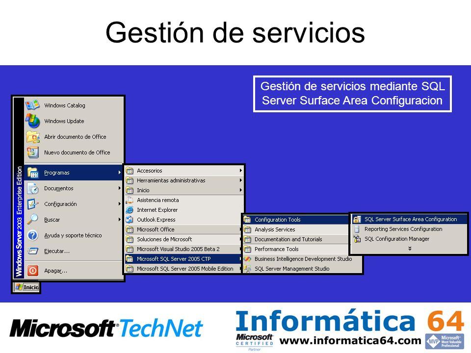 Gestión de servicios Gestión de servicios mediante SQL Server Surface Area Configuracion