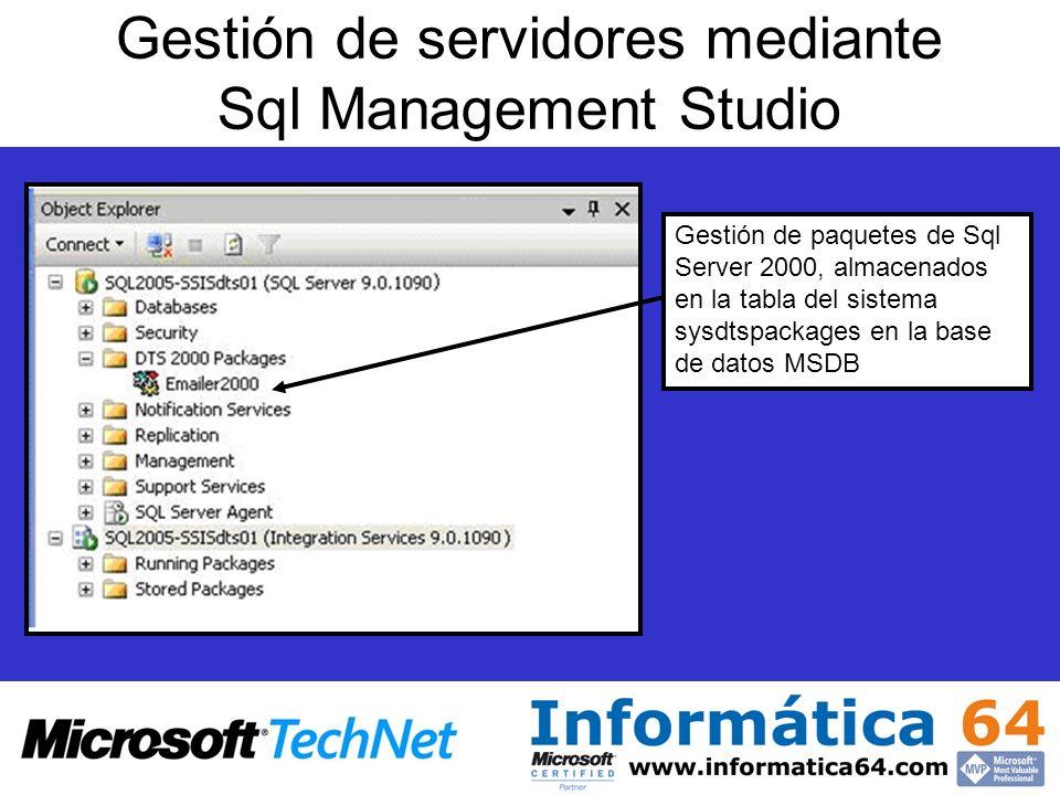Gestión de servidores mediante Sql Management Studio Gestión de paquetes de Sql Server 2000, almacenados en la tabla del sistema sysdtspackages en la