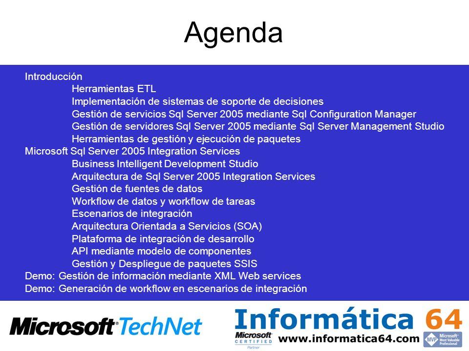 Agenda Introducción Herramientas ETL Implementación de sistemas de soporte de decisiones Gestión de servicios Sql Server 2005 mediante Sql Configurati