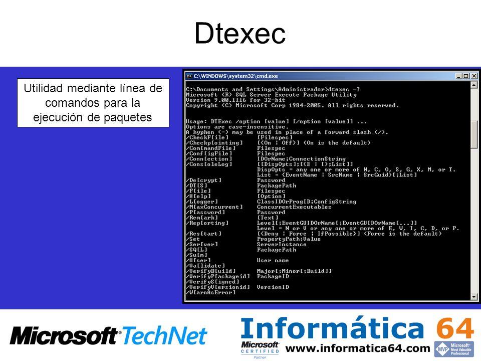 Dtexec Utilidad mediante línea de comandos para la ejecución de paquetes