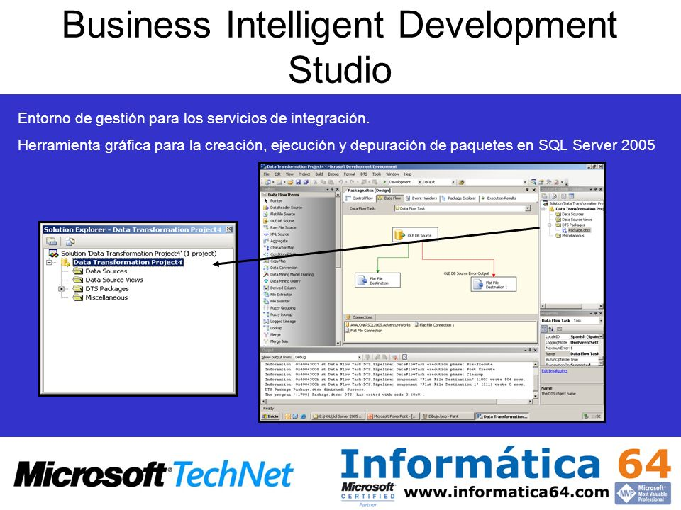 Business Intelligent Development Studio Entorno de gestión para los servicios de integración. Herramienta gráfica para la creación, ejecución y depura