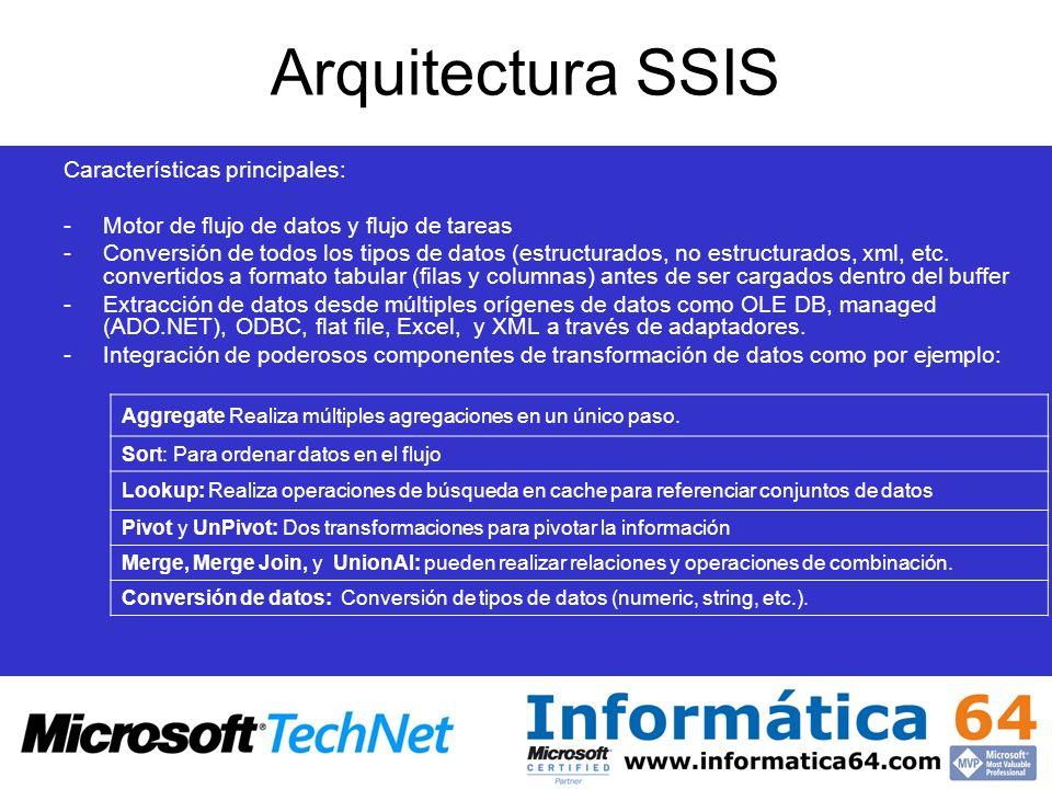 Características principales: -Motor de flujo de datos y flujo de tareas -Conversión de todos los tipos de datos (estructurados, no estructurados, xml,