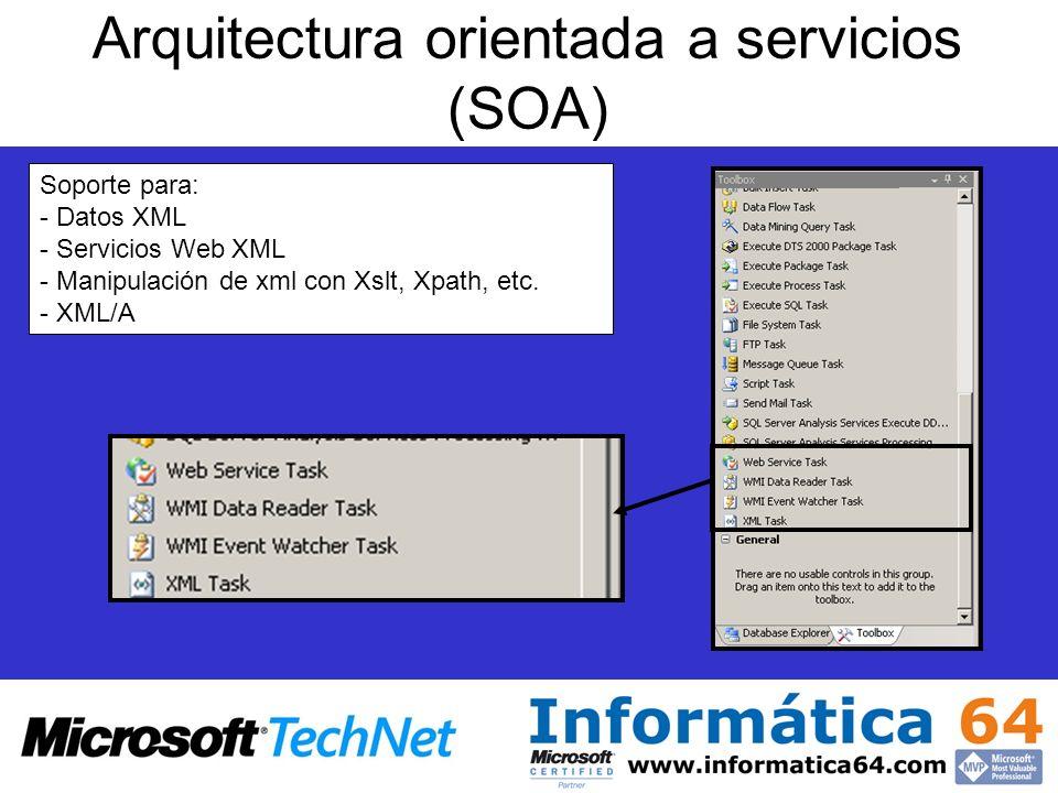 Arquitectura orientada a servicios (SOA) Soporte para: - Datos XML - Servicios Web XML - Manipulación de xml con Xslt, Xpath, etc. - XML/A