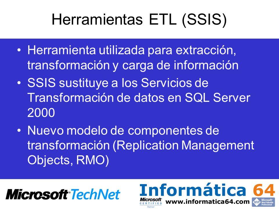 Herramientas ETL (SSIS) Herramienta utilizada para extracción, transformación y carga de información SSIS sustituye a los Servicios de Transformación