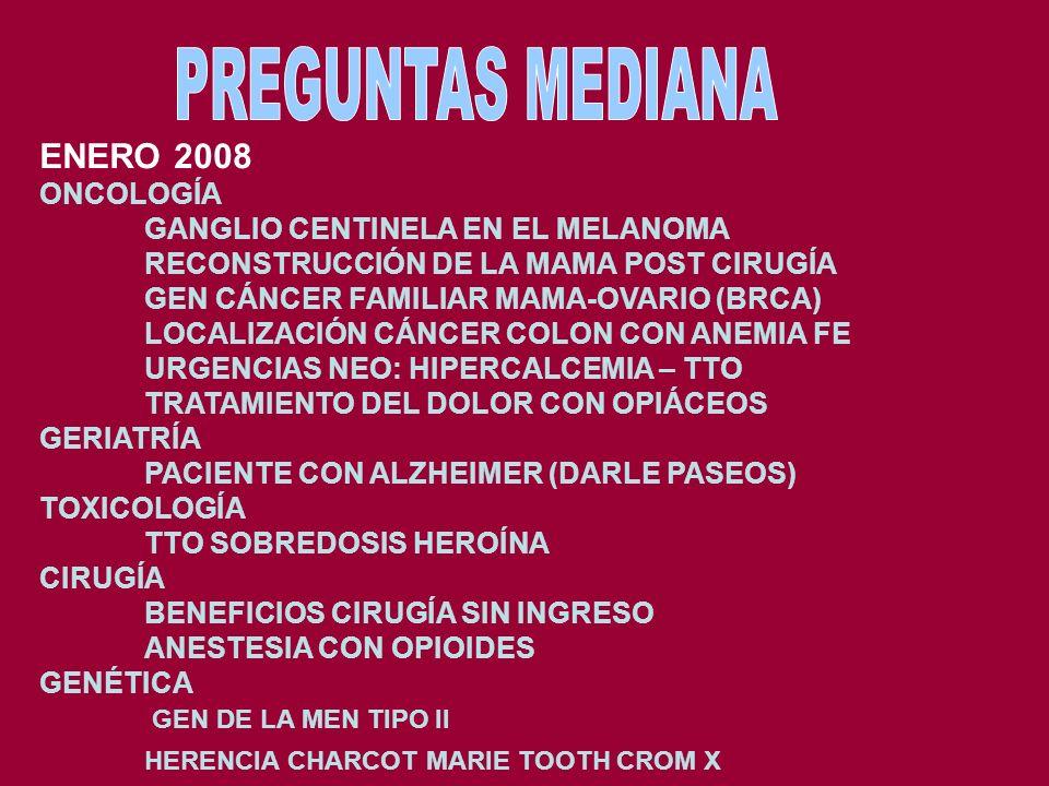 ENERO 2007 ONCOLOGÍA DEFINICIÓN DE GANGLIO CENTINELA LOCALIZAR CÁNCER TD CON NÓDULOS SUPRACLAVICULAR TRATAMIENTO DE LA DISNEA COMO EVENTO TERMINAL TRA