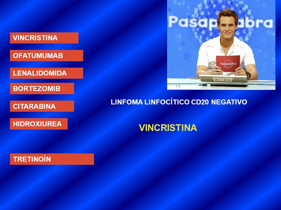 VINCRISTINA OFATUMUMAB LENALIDOMIDA BORTEZOMIB CITARABINA HIDROXIUREA TRETINOÍN LINFOMA LINFOCÍTICO CD20 NEGATIVO VINCRISTINA