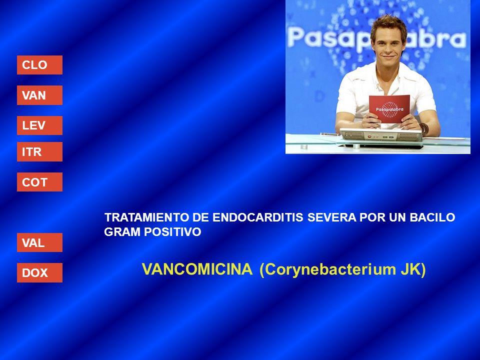 CLO VAN LEV ITR COT VAL DOX TRATAMIENTO DE ENDOCARDITIS SEVERA POR UN BACILO GRAM POSITIVO VANCOMICINA (Corynebacterium JK)