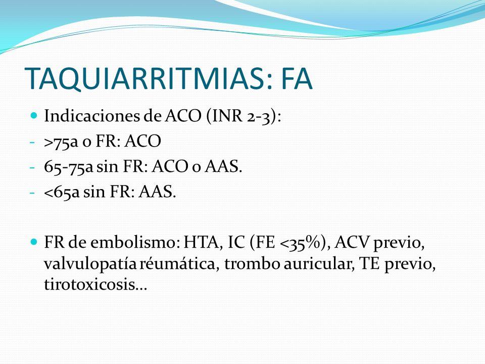 TAQUIARRITMIAS: FA Indicaciones de ACO (INR 2-3): - >75a o FR: ACO - 65-75a sin FR: ACO o AAS. - <65a sin FR: AAS. FR de embolismo: HTA, IC (FE <35%),