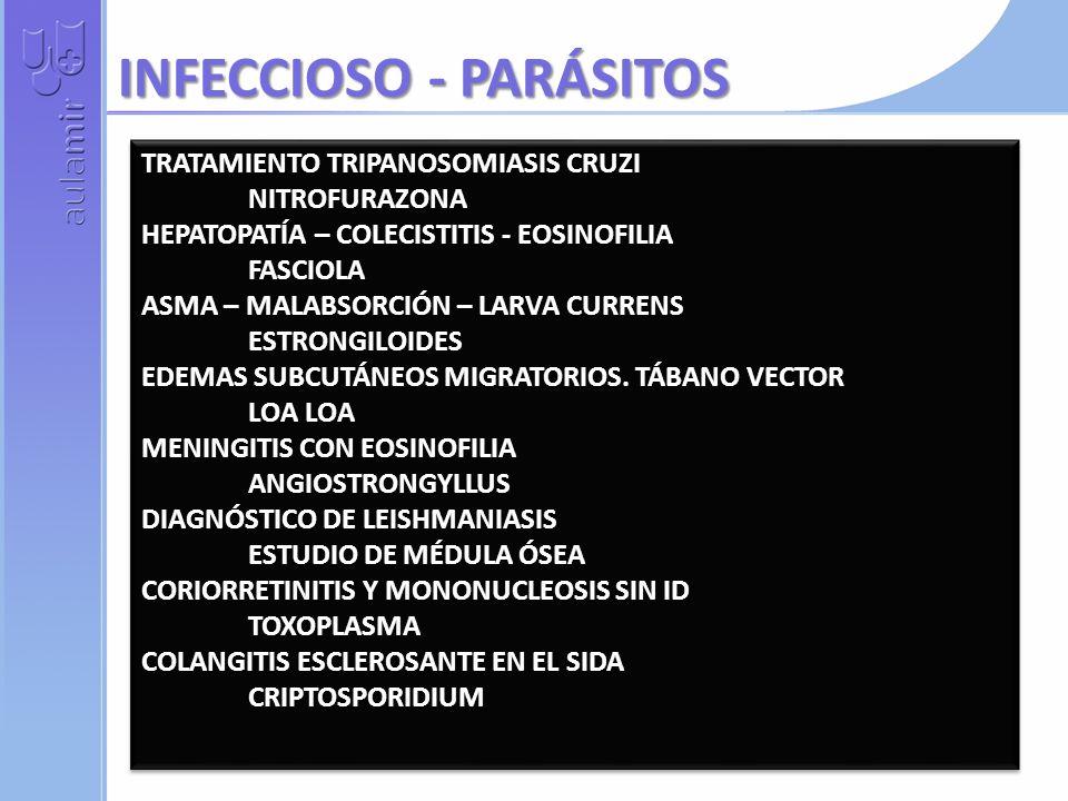 TRATAMIENTO TRIPANOSOMIASIS CRUZI NITROFURAZONA HEPATOPATÍA – COLECISTITIS - EOSINOFILIA FASCIOLA ASMA – MALABSORCIÓN – LARVA CURRENS ESTRONGILOIDES EDEMAS SUBCUTÁNEOS MIGRATORIOS.