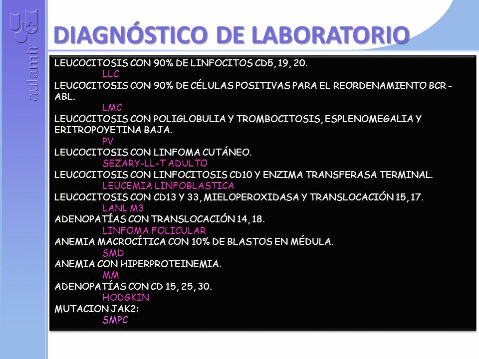 LEUCOCITOSIS CON 90% DE LINFOCITOS CD5, 19, 20.