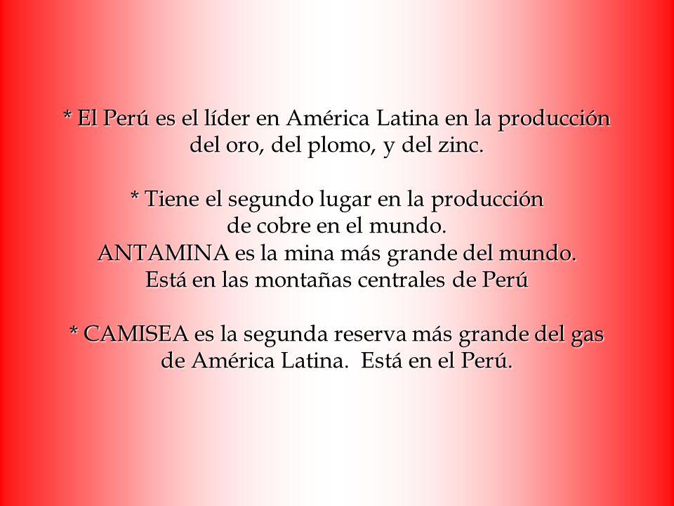 * El Perú es el líder en América Latina en la producción del oro, del plomo, y del zinc. * Tiene el segundo lugar en la producción de cobre en el mund