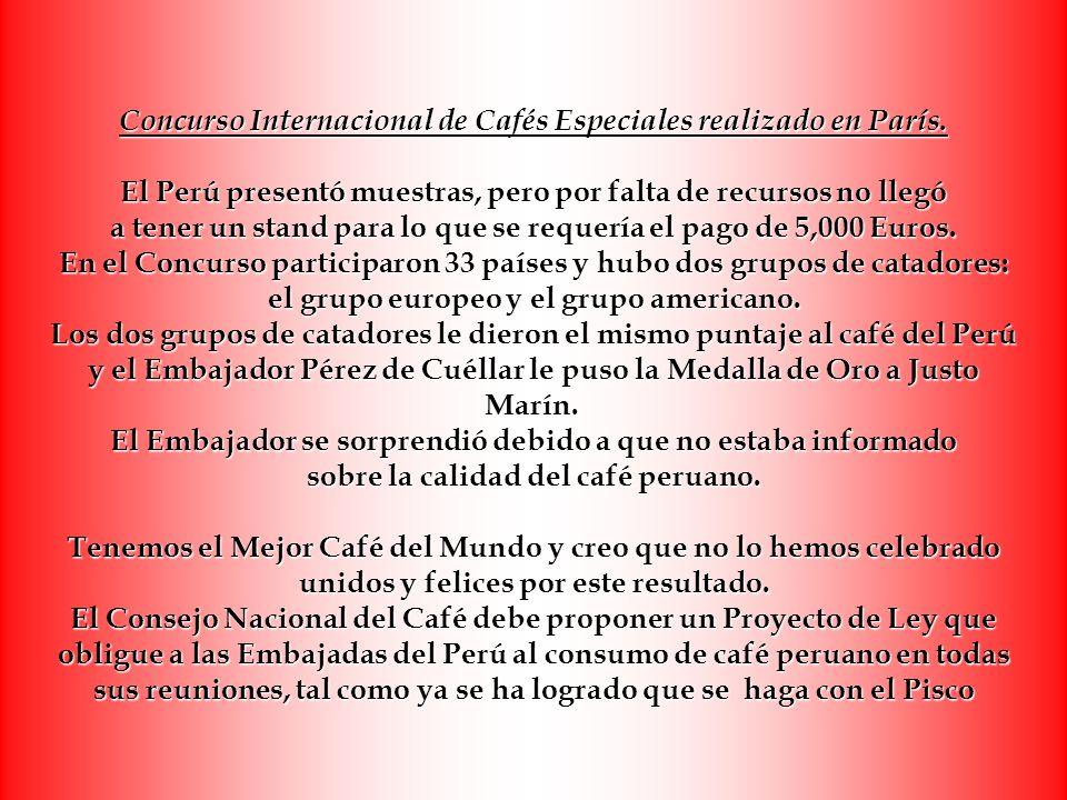 Concurso Internacional de Cafés Especiales realizado en París. El Perú presentó muestras, pero por falta de recursos no llegó a tener un stand para lo