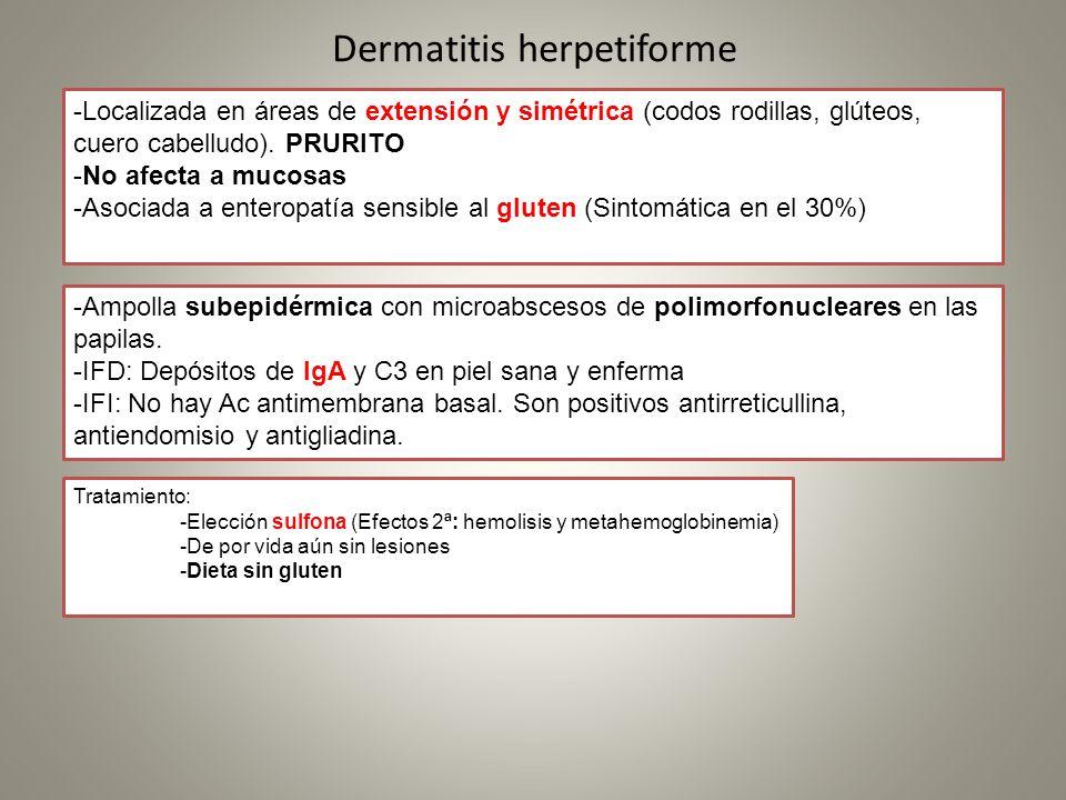 Dermatitis herpetiforme -Localizada en áreas de extensión y simétrica (codos rodillas, glúteos, cuero cabelludo). PRURITO -No afecta a mucosas -Asocia