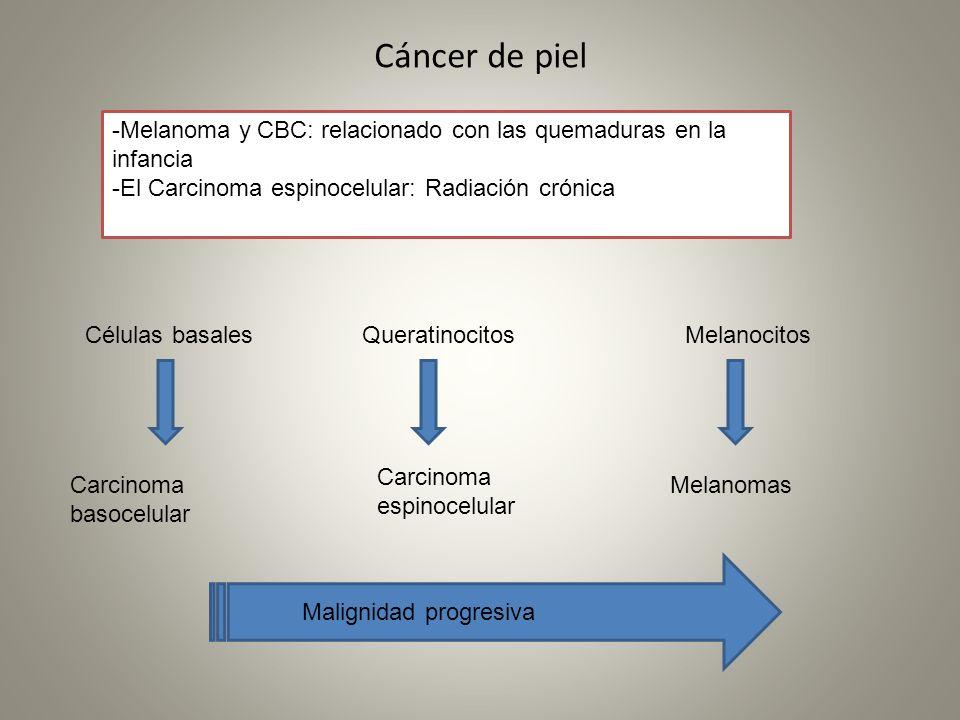 Cáncer de piel Melanocitos Melanomas Queratinocitos Carcinoma espinocelular Células basales Carcinoma basocelular Malignidad progresiva -Melanoma y CB
