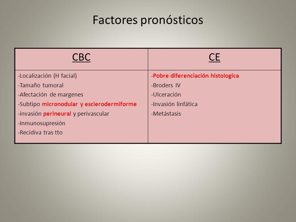 Factores pronósticos CBCCE -Localización (H facial) -Tamaño tumoral -Afectación de margenes -Subtipo micronodular y esclerodermiforme -invasión perine