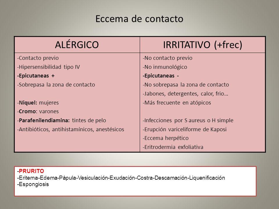 Eccema de contacto ALÉRGICOIRRITATIVO (+frec) -Contacto previo -Hipersensibilidad tipo IV -Epicutaneas + -Sobrepasa la zona de contacto -Niquel: mujer