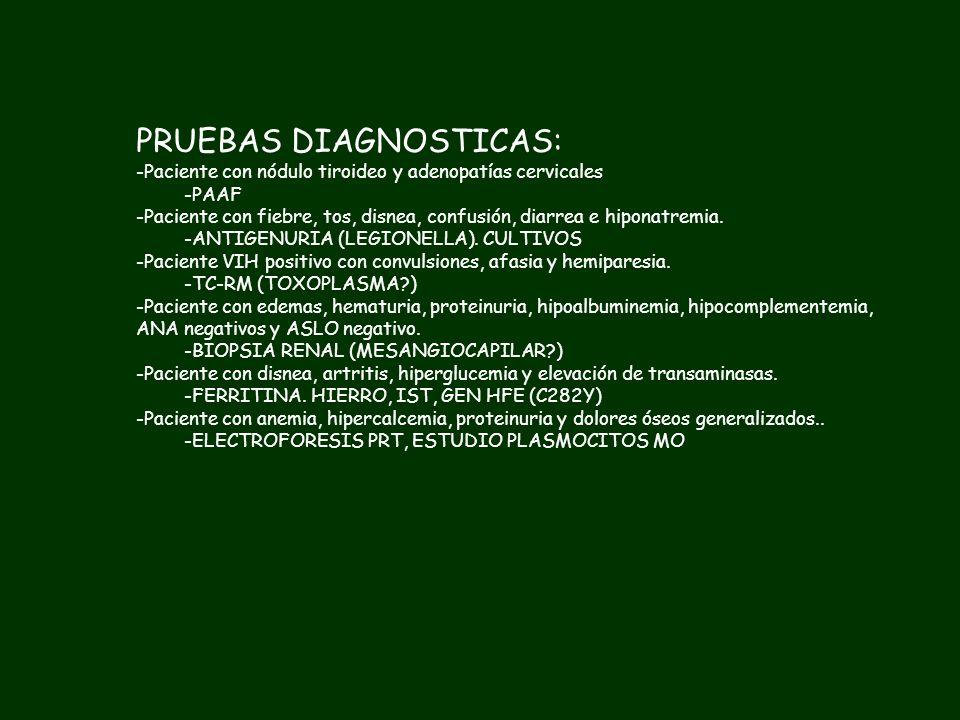 PRUEBAS DIAGNOSTICAS: -Paciente con nódulo tiroideo y adenopatías cervicales -Paciente con fiebre, tos, disnea, confusión, diarrea e hiponatremia. -Pa