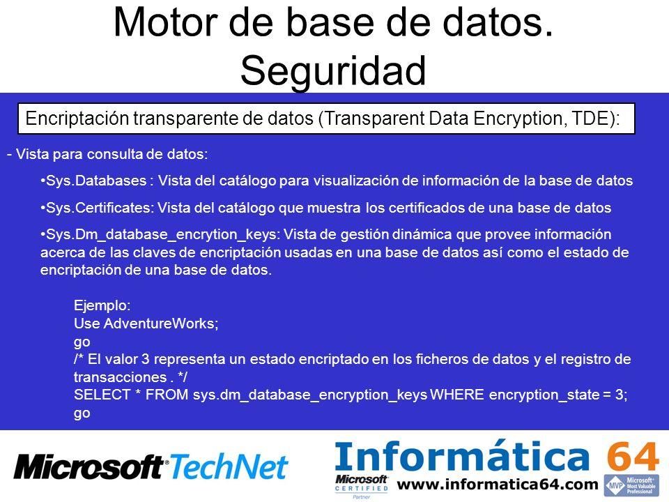 Motor de base de datos. Seguridad Encriptación transparente de datos (Transparent Data Encryption, TDE): - - Vista para consulta de datos: Sys.Databas
