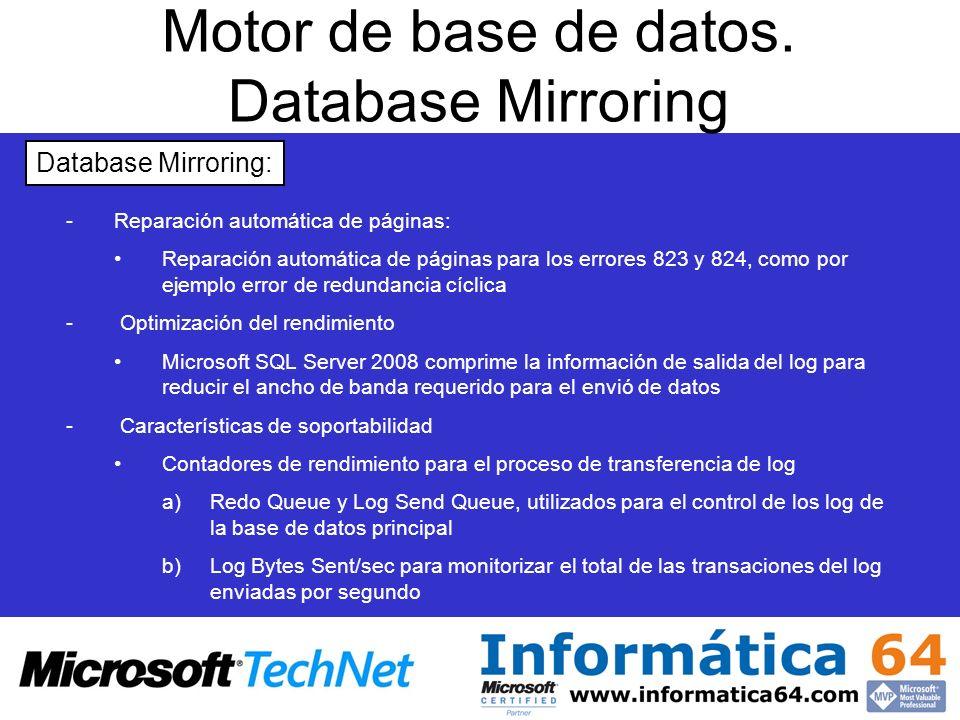 Motor de base de datos. Database Mirroring - -Reparación automática de páginas: Reparación automática de páginas para los errores 823 y 824, como por