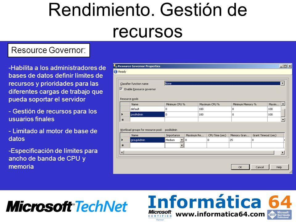 Rendimiento. Gestión de recursos Resource Governor: - -Habilita a los administradores de bases de datos definir límites de recursos y prioridades para