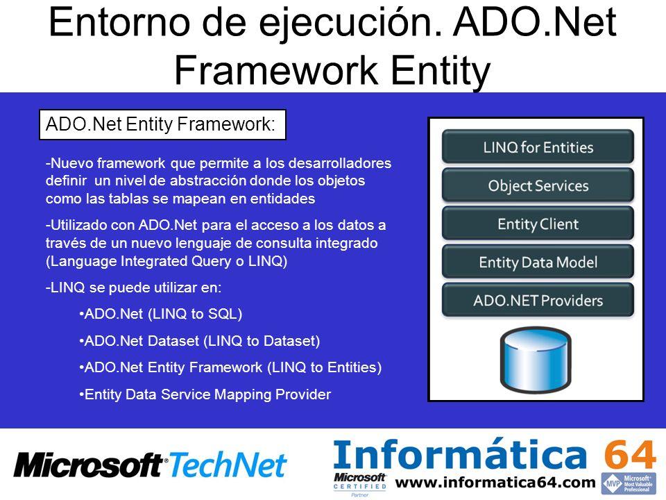 Entorno de ejecución. ADO.Net Framework Entity ADO.Net Entity Framework: - -Nuevo framework que permite a los desarrolladores definir un nivel de abst