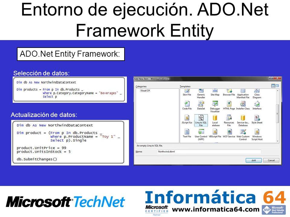 Entorno de ejecución. ADO.Net Framework Entity ADO.Net Entity Framework: Selección de datos: Actualización de datos: