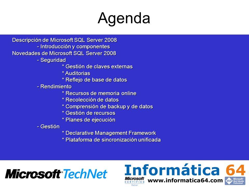 Descripción de Microsoft SQL Server 2008 - Introducción y componentes Novedades de Microsoft SQL Server 2008 - Seguridad * Gestión de claves externas