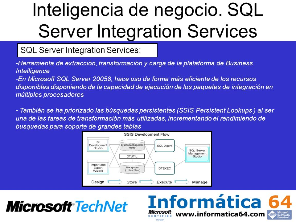 Inteligencia de negocio. SQL Server Integration Services - -Herramienta de extracción, transformación y carga de la plataforma de Business Intelligenc