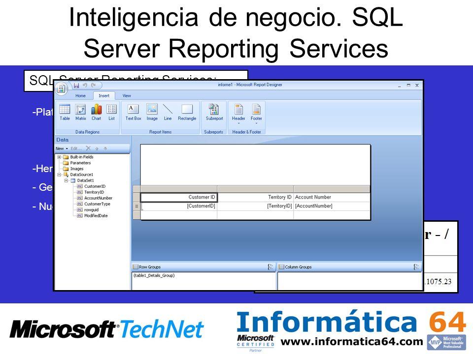 Inteligencia de negocio. SQL Server Reporting Services SQL Server Reporting Services: - -Plataforma para la elaboración de informes Administrador de i