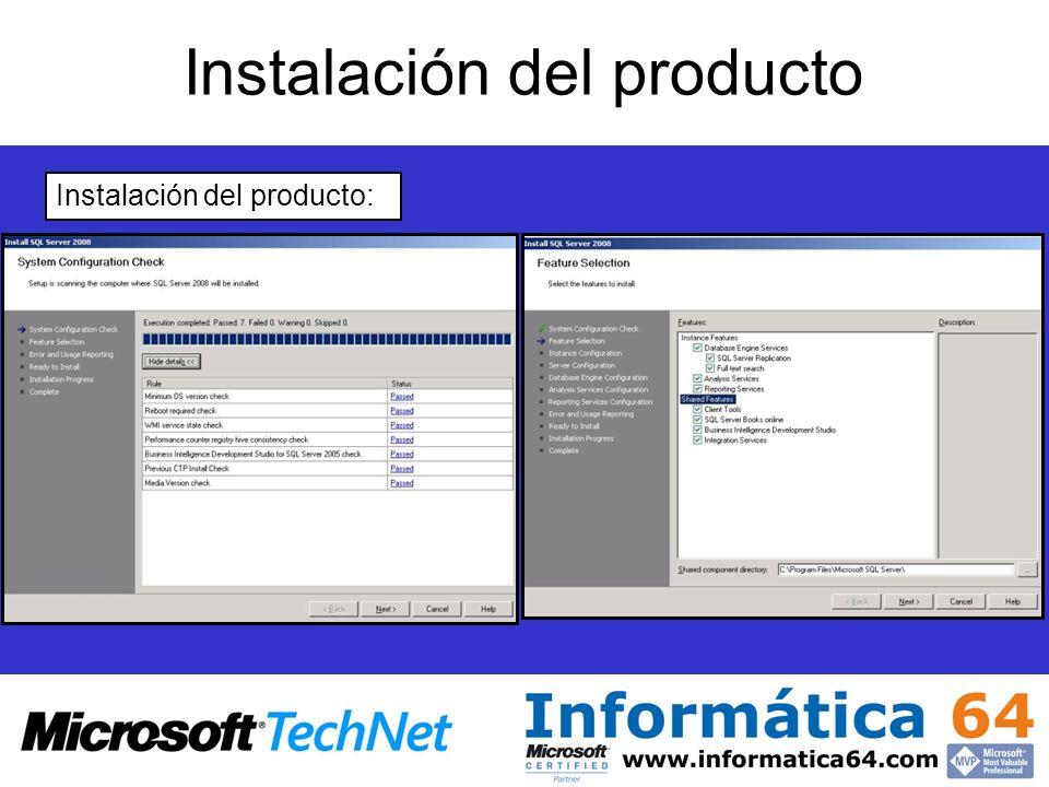 Instalación del producto Instalación del producto:
