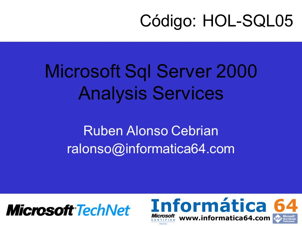 Agenda –Introducción a Data Warehousing y sistemas OLAP –Características de un Data Warehouse –Componentes de un sistema de almacén de datos –Bases de datos OLAP –Diseño de un almacén de datos –Plataforma de Microsoft de BI –Instalación –Elementos de una base de datos OLAP de Microsoft SQL Server 2000 –Orígenes de datos –Cubos –Gestión de Cubos en Análisis Manager –Dimensiones –Asistente para dimensiones –Modos de almacenamiento –Almacenamiento y agregado de datos –Examinar Datos –Asistentes del gestor de análisis de Sql Server 2000 –Arquitectura de los servicios de análisis –Introducción a Datamining –Microsoft Excel Add-in para Sql Server Analysis Services –Microsoft Office Business Scorecards Accelerator