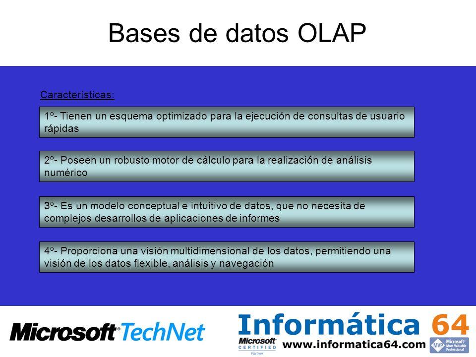 Bases de datos OLAP Características: 1º- Tienen un esquema optimizado para la ejecución de consultas de usuario rápidas 2º- Poseen un robusto motor de