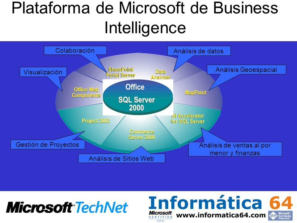 Plataforma de Microsoft de Business Intelligence Gestión de Proyectos Análisis de Sitios Web Análisis de ventas al por menor y finanzas Visualización