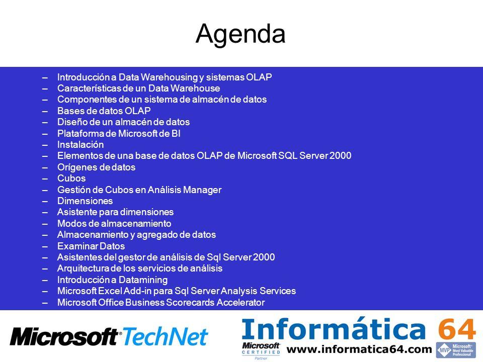 Agenda –Introducción a Data Warehousing y sistemas OLAP –Características de un Data Warehouse –Componentes de un sistema de almacén de datos –Bases de