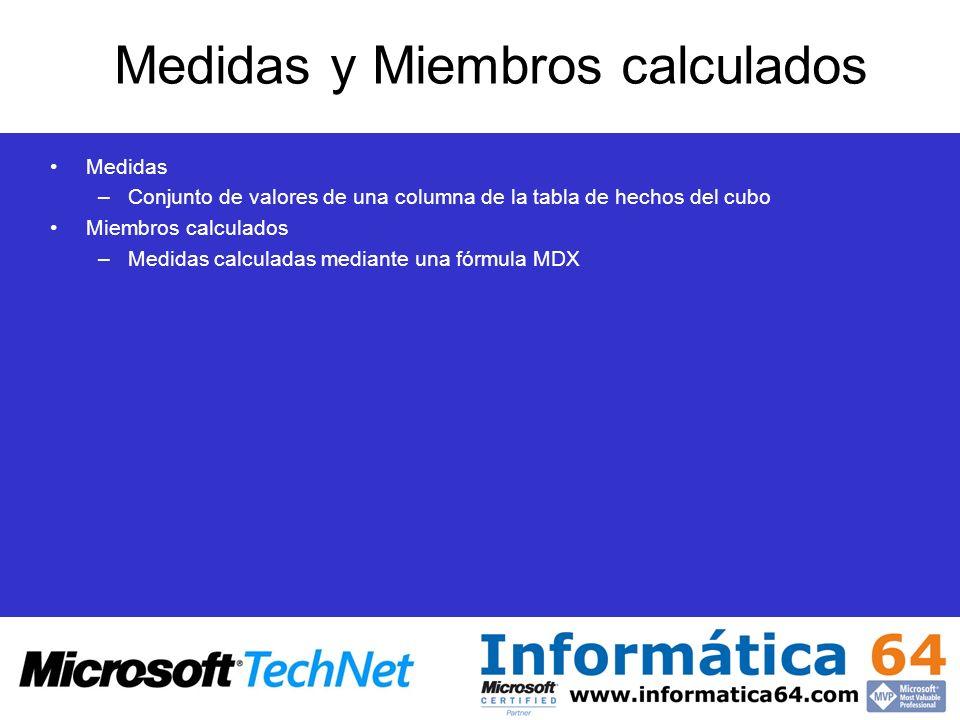 Medidas y Miembros calculados Medidas –Conjunto de valores de una columna de la tabla de hechos del cubo Miembros calculados –Medidas calculadas media