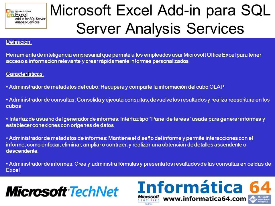 Microsoft Excel Add-in para SQL Server Analysis Services Definición: Herramienta de inteligencia empresarial que permite a los empleados usar Microsof