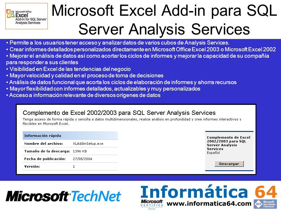 Microsoft Excel Add-in para SQL Server Analysis Services Permite a los usuarios tener acceso y analizar datos de varios cubos de Analysis Services. Cr
