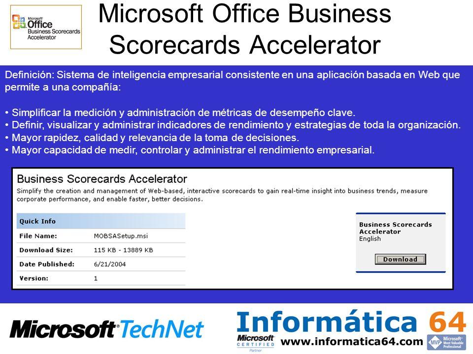 Microsoft Office Business Scorecards Accelerator Definición: Sistema de inteligencia empresarial consistente en una aplicación basada en Web que permi